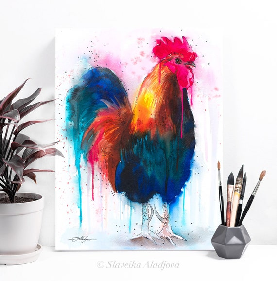 Rooster Colorful watercolor painting print by Slaveika Aladjova, art, animal, illustration, bird, home decor, wall art, gift, Wildlife