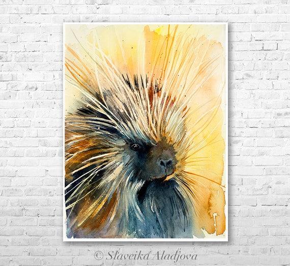 Porcupine watercolor painting print by Slaveika Aladjova, art, animal, illustration, home decor, Nursery, gift, Wildlife, wall art