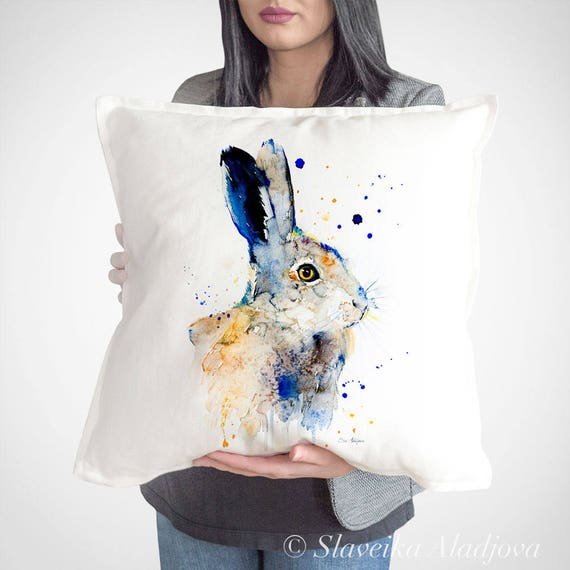 Hare rabbit throw pillow cover by Slaveika Aladjova, cushion cover, Decorative Pillow Cover, Animal Art, Watercolor pillow, Christmas