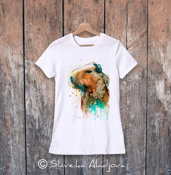 Capybara watercolor ladies' T-shirt, women's tees, Teen Clothing, Girls' Clothing, ring spun Cotton 100%, watercolor print
