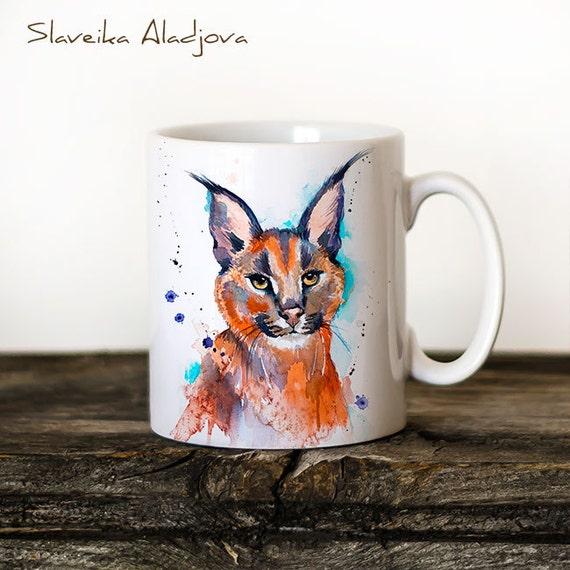 Caracal Mug Watercolor Ceramic Mug Unique Gift Coffee Mug Animal Mug Tea Cup Art Illustration Cool Kitchen Art Printed mug