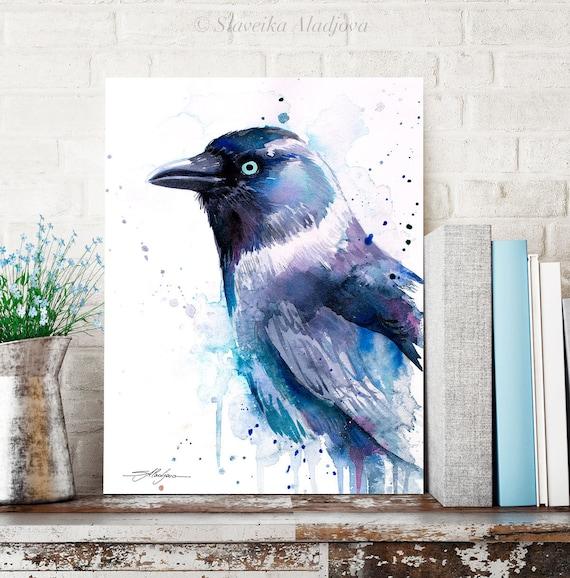 Jackdaw watercolor painting print by Slaveika Aladjova, art, animal, illustration, bird, home decor, wall art, Wildlife, Contemporary, raven