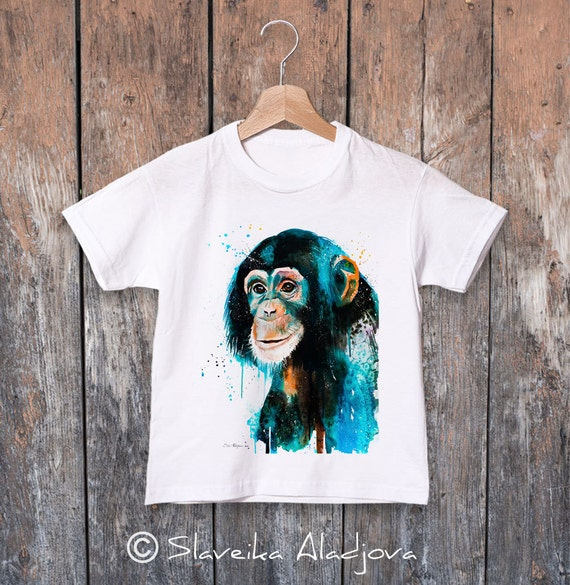 Chimpanzee T-shirt, Chimp watercolor kids T-shirt, Boys' Clothing, Girls' Clothing, ring spun Cotton 100%, watercolor print T-shirt