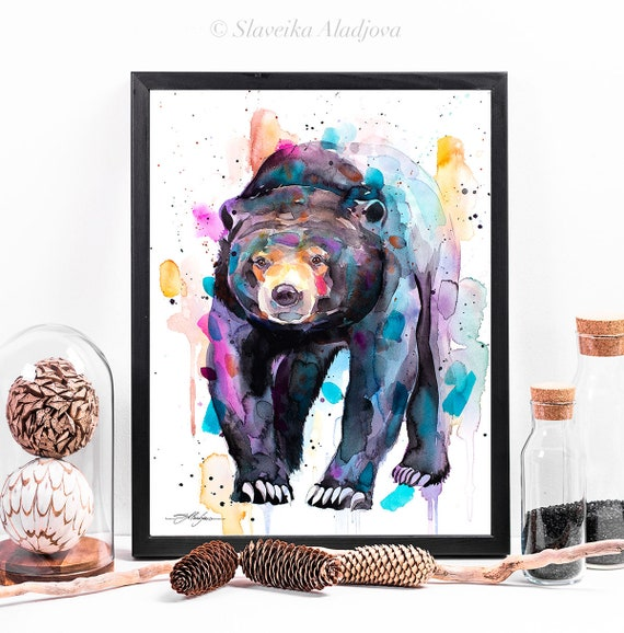 Spectacled Bear watercolor framed canvas by Slaveika Aladjova, Limited edition, art, animal watercolor, animal illustration, large print