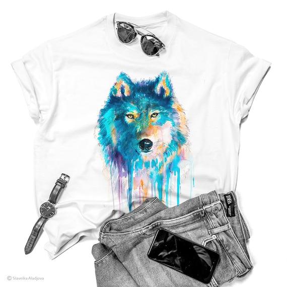 Blue wolf T-shirt, Unisex T-shirt, watercolor print T-shirt, T shirt art, T shirt animal, Available in XS, S, M, L, XL, XXL