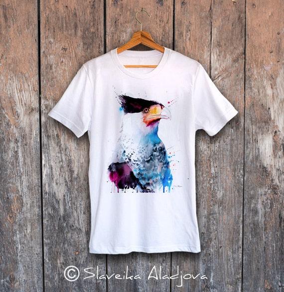 Northern Crested Caracara T-shirt, Unisex T-shirt, ring spun Cotton 100%, watercolor print, T shirt art, T shirt animal,XS, S, M, L, XL, XXL