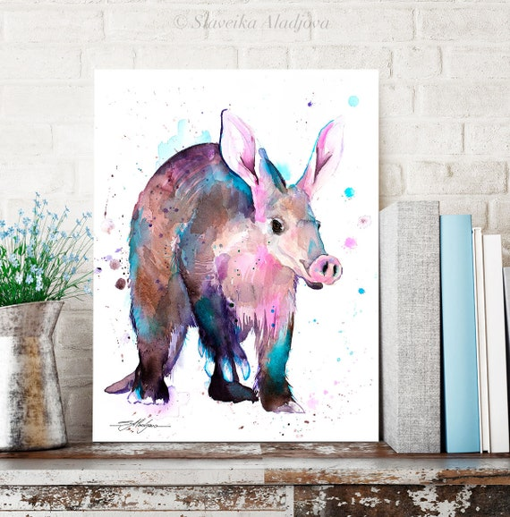 Aardvark watercolor painting print by Slaveika Aladjova, art, animal, illustration, home decor, Nursery, gift, Wildlife, wall art