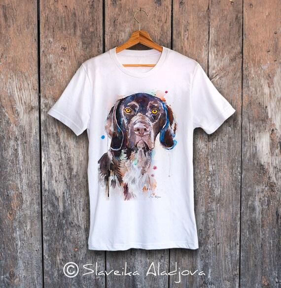 German Shorthaired Pointer T-shirt, Unisex T-shirt, ring spun Cotton 100%, watercolor print T-shirt, T shirt art, XS, S, M, L, XL, XXL