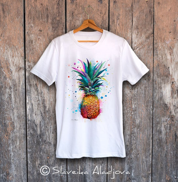 Pineapple T-shirt, Unisex T-shirt, ring spun Cotton 100%, watercolor print T shirt art, T shirt print ,XS, S, M, L, XL, XXL