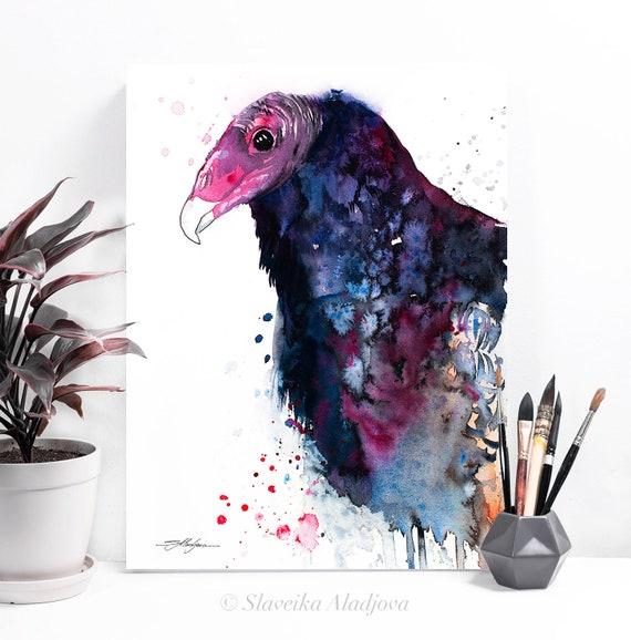 Turkey Vulture watercolor painting print by Slaveika Aladjova, art, animal, illustration, bird, home decor, wall art, gift, Wildlife