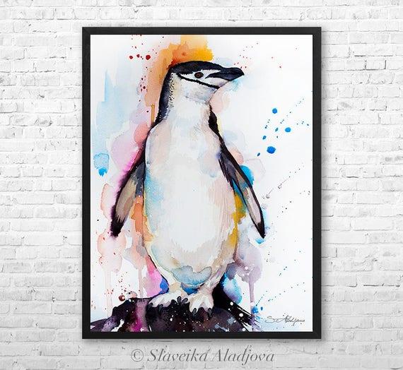 Chinstrap penguin watercolor framed canvas by Slaveika Aladjova, Limited edition, art, animal watercolor, animal illustration,bird art