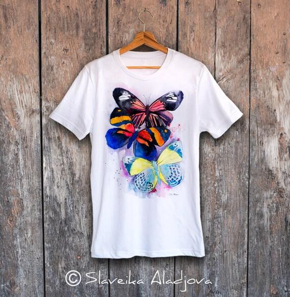 Butterflies T-shirt, Unisex T-shirt, ring spun Cotton 100%, watercolor print T shirt, T shirt art, T shirt animal,XS, S, M, L, XL, XXL