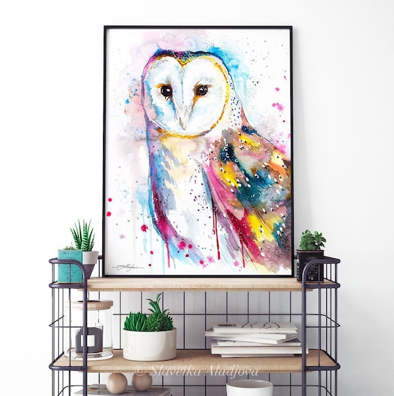 Barn owl watercolor framed canvas by Slaveika Aladjova, Limited edition, art, animal watercolor, animal illustration,bird art
