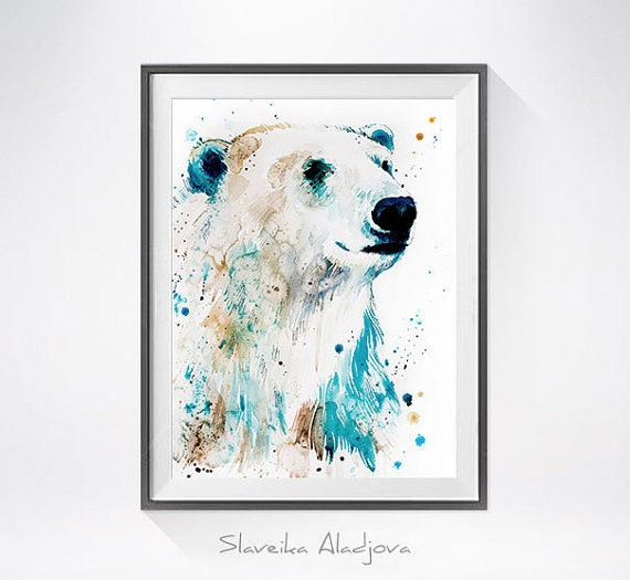 Original Watercolour Painting- Polar bear art, animal illustration, animal watercolor, animals paintings, animals, portrait,