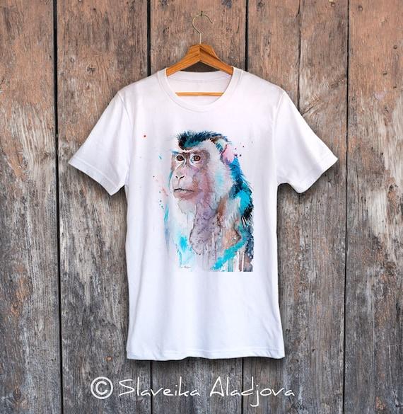 Macaque T-shirt, Unisex T-shirt, ring spun Cotton 100%, watercolor print T-shirt, T shirt art, T shirt animal,XS, S, M, L, XL, XXL