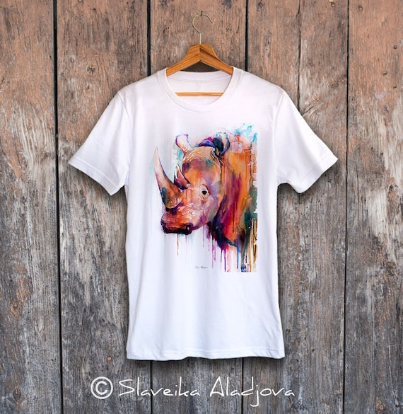 Rhino T-shirt, Unisex T-shirt, ring spun Cotton 100%, watercolor print T-shirt, T shirt art, T shirt animal,XS, S, M, L, XL, XXL
