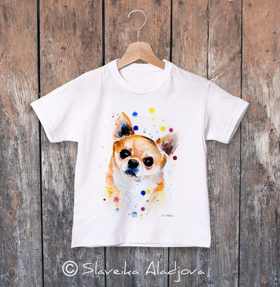 Chihuahua watercolor kids T-shirt, Boys' Clothing, Girls' Clothing, ring spun Cotton 100%, watercolor print T-shirt,T shirt art