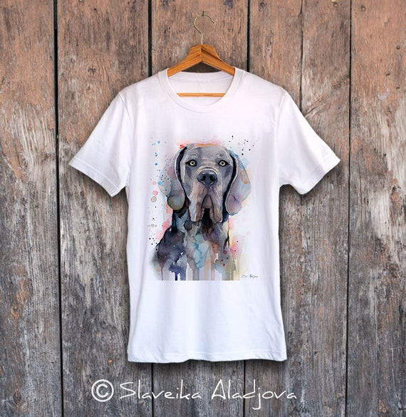 Blue Great Dane T-shirt, Unisex T-shirt, ring spun Cotton 100%, watercolor print T shirt art,T shirt animal,XS, S, M, L, XL, XXL