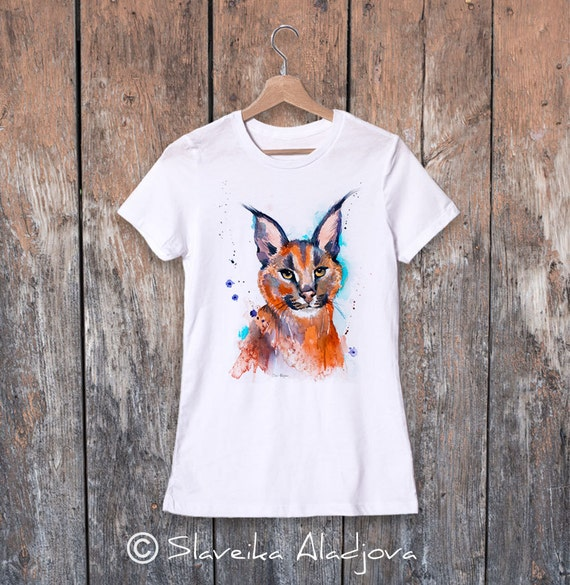 Caracal watercolor ladies' T-shirt, women's tees, Teen Clothing, Girls' Clothing, ring spun Cotton 100%, watercolor print