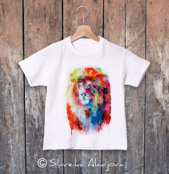 Lion watercolor kids T-shirt, Boys' Clothing, Girls' Clothing, ring spun Cotton 100%, watercolor print T-shirt, T shirt art