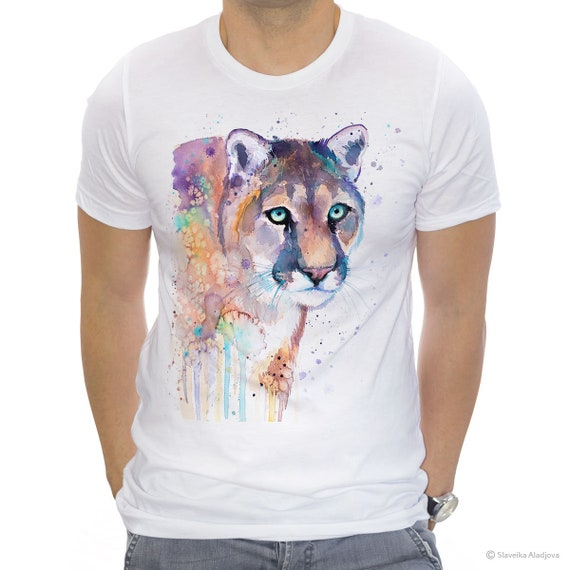 Puma T-shirt, Unisex T-shirt, ring spun Cotton 100%, watercolor T-shirt, T shirt art, T shirt animal, XS, S, M, L, XL, XXL