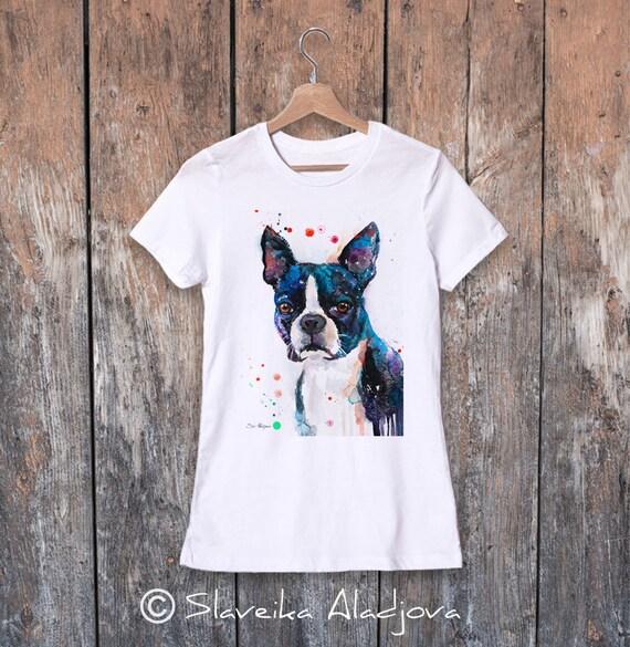 Boston Terrier  watercolor ladies' T-shirt, women's tees, Teen Clothing, Girls' Clothing, ring spun Cotton 100%, watercolor print