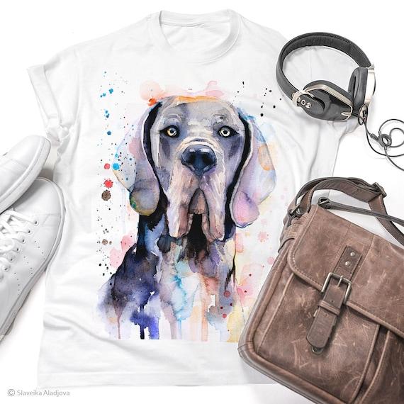 Blue Great Dane T-shirt, watercolor ladies' T-shirt, women's tees, Teen Clothing, Girls' Clothing, ring spun Cotton 100%, watercolor print