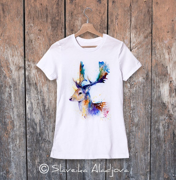 Fallow deer watercolor ladies' T-shirt, women's tees, Teen Clothing, Girls' Clothing, ring spun Cotton 100%, watercolor print