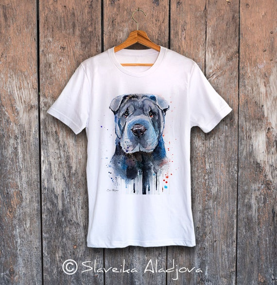 Shar Pei T-shirt, Unisex T-shirt, ring spun Cotton 100%, watercolor print T-shirt, T shirt art, T shirt animal,XS, S, M, L, XL, XXL