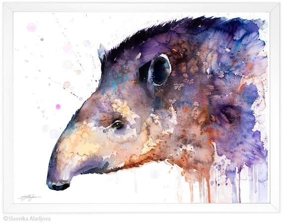 Tapir watercolor painting print by Slaveika Aladjova, art, animal, illustration, home decor, Nursery, gift, Wildlife, wall art
