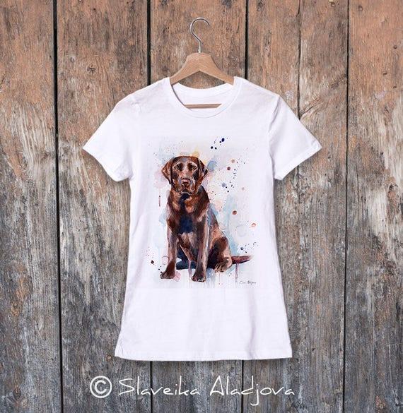 Chocolate Labrador watercolor ladies' T-shirt, women's tees, Teen Clothing, Girls' Clothing, ring spun Cotton 100%, watercolor print