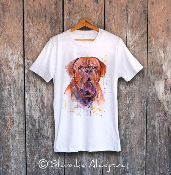 Dogue de Bordeaux T-shirt, Unisex T-shirt, ring spun Cotton 100%, watercolor print T-shirt, T shirt art, T shirt animal,XS, S, M, L, XL, XXL