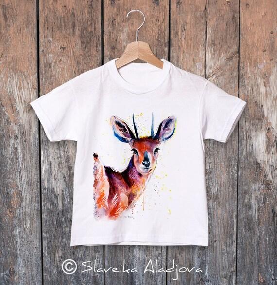Steenbok Antelope watercolor kids T-shirt, Boys' Clothing, Girls' Clothing, ring spun Cotton 100%, watercolor print T-shirt, T shirt art