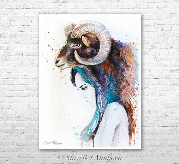 Mouflon Girl watercolor painting print by Slaveika Aladjova, Fashion Illustration, Woman art, Illustration, watercolour, wall art, ram