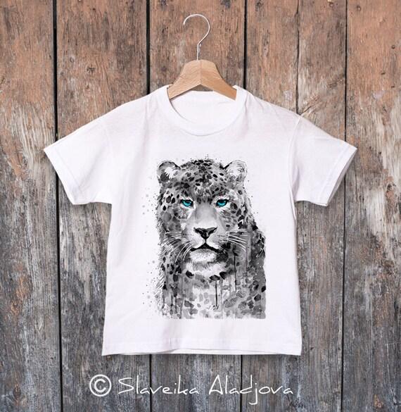 Panther watercolor kids T-shirt, Boys' Clothing, Girls' Clothing, ring spun Cotton 100%, watercolor print T-shirt,T shirt art