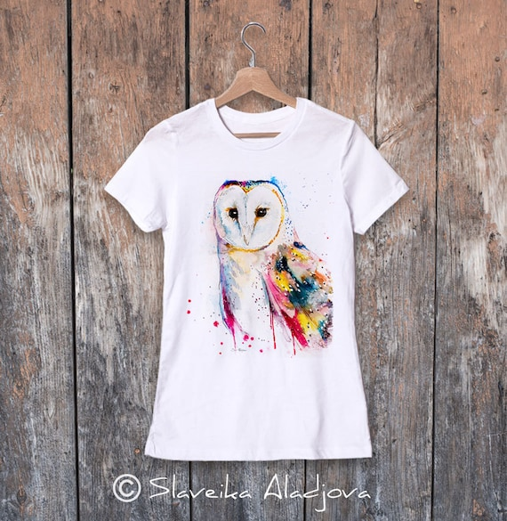 Barn owl watercolor ladies' T-shirt, women's tees, Teen Clothing, Girls' Clothing, ring spun Cotton 100%, watercolor print