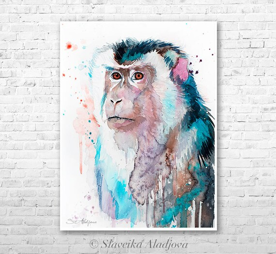 Macaque watercolor painting print by Slaveika Aladjova, art, animal, illustration, home decor, Nursery, gift, Wildlife, wall art,monkey art