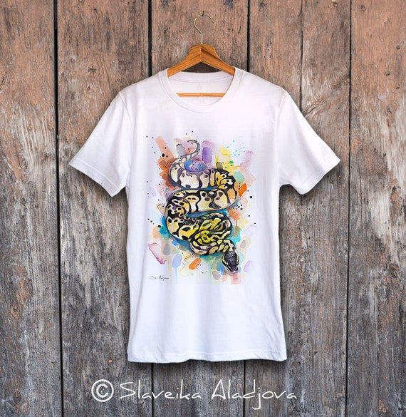 Pastel Ball Python T-shirt, Unisex T-shirt, ring spun Cotton 100%, watercolor print T-shirt, T shirt art, T shirt animal, S, M, L, XL, XXL
