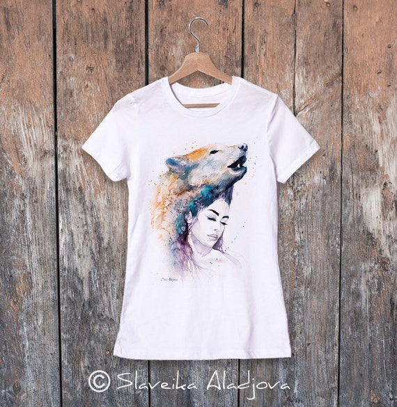 Wolf Girl  watercolor ladies' T-shirt, women's tees, Teen Clothing, Girls' Clothing, ring spun Cotton 100%, watercolor print