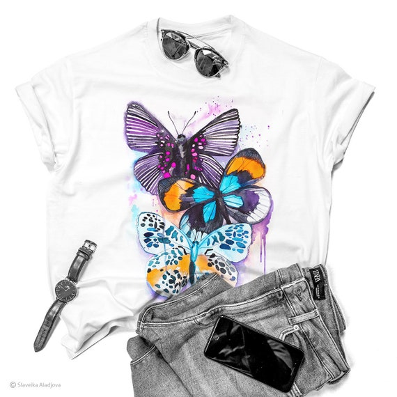 Blue and Purple Butterfly watercolor ladies' T-shirt, women's tees, Teen Clothing, Girls' Clothing, ring spun Cotton 100%, watercolor print