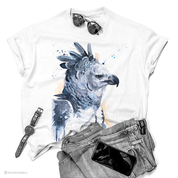 Harpy eagle T-shirt, Watercolor art print Graphic Tees, Unisex, Women, Kids models, ring spun Cotton 100%, Animal, XS, S, M, L, XL, XXL