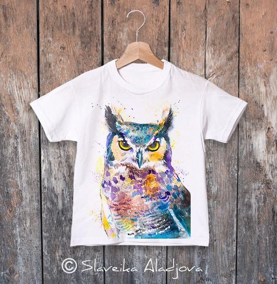 Owl T-shirt, Horned Owl kids tee, Boys' T-shirt, Girls' tees, Cute bird tee, Graphic T-Shirt, ring spun Cotton 100%