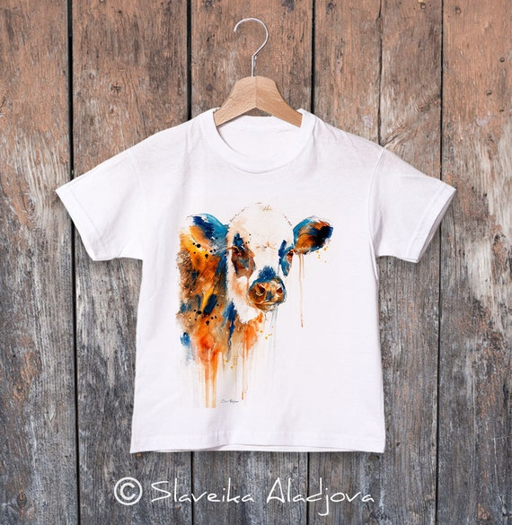 Cow watercolor kids T-shirt, Boys' Clothing, Girls' Clothing, ring spun Cotton 100%, watercolor print T-shirt, T shirt art