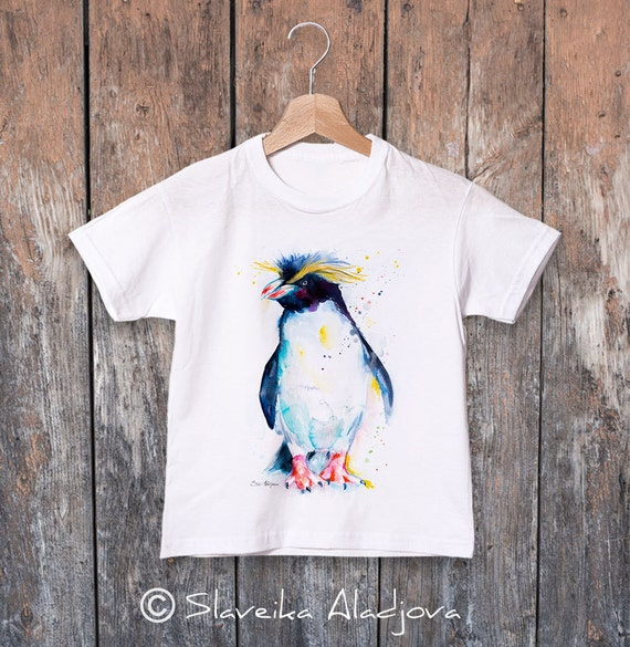 Rockhopper penguin watercolor kids T-shirt, Boys' Clothing, Girls' Clothing, ring spun Cotton 100%, watercolor print T-shirt, T shirt art