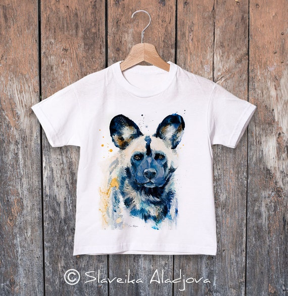 Wild Dog watercolor kids T-shirt, Boys' Clothing, Girls' Clothing, ring spun Cotton 100%, watercolor print T-shirt, T shirt art