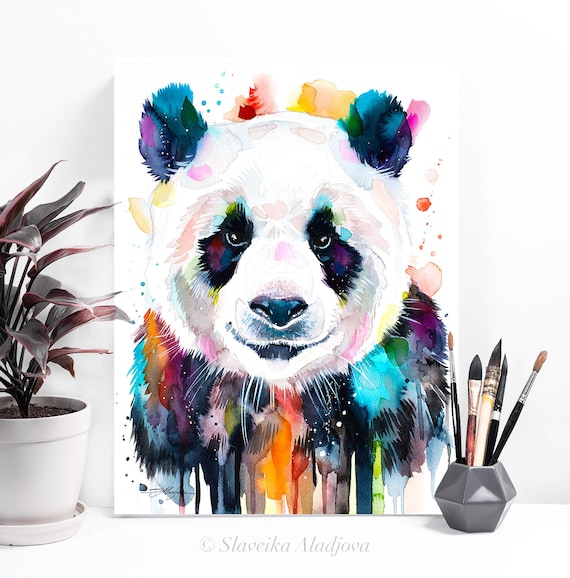 Colourful panda watercolor painting print by Slaveika Aladjova, art, animal, illustration, home decor, Nursery, gift, Wildlife, wall art