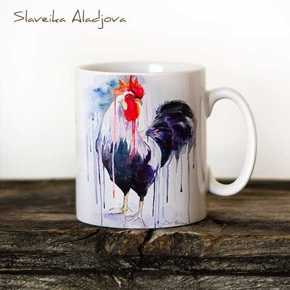 Rooster  Mug Watercolor Ceramic Mug Unique Gift Coffee Mug Animal Mug Tea Cup Art Illustration Cool Kitchen Art Printed mug bird Rooster