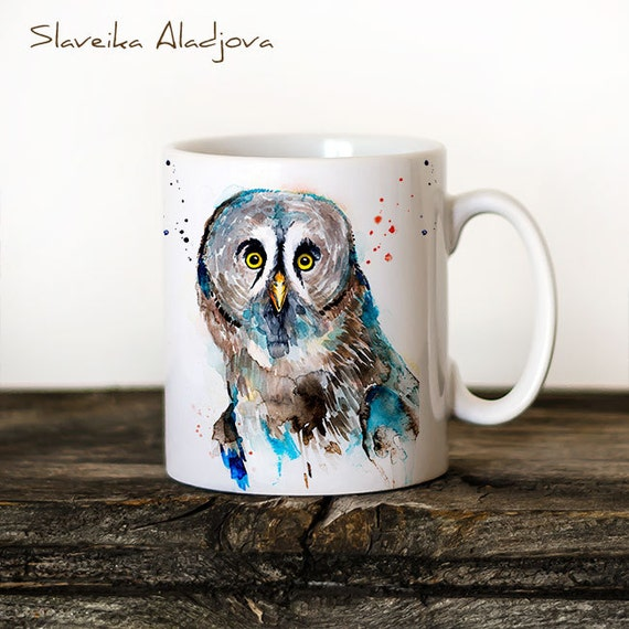 Great grey owl Mug Watercolor Ceramic Mug Unique Gift Coffee Mug Animal Mug Tea Cup Art Illustration Cool Kitchen Art Printed mug bird