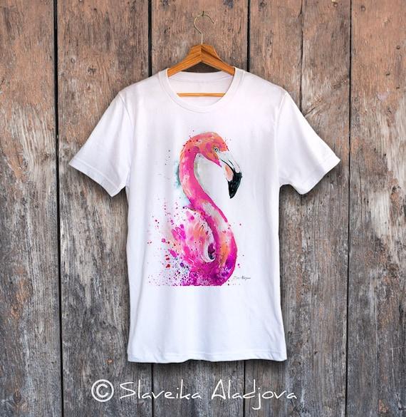 Flamingo T-shirt, Unisex T-shirt, ring spun Cotton 100%, watercolor print T-shirt, T shirt art, T shirt animal, XS, S, M, L, XL, XXL