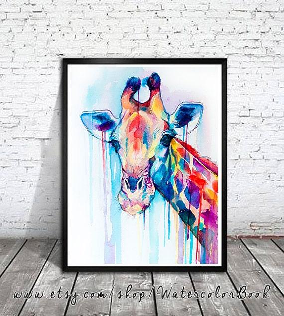 Original Watercolour Painting- Giraffe, animal, illustration, animal watercolor, animals paintings, animals, portrait,